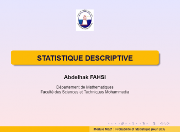 Club Etudiants - STATISTIQUE DESCRIPTIVE - Abdelhak FAHSI - FSTM